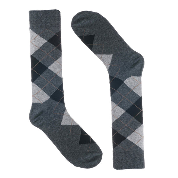 Grey Black Argyle Dress Socks
