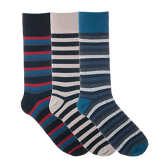 3 Pack Blue Grey White Striped Dress Socks