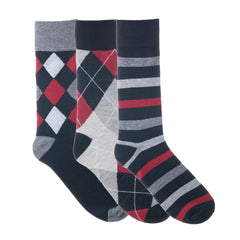 3 Pack Red Grey Argyle Dress Socks