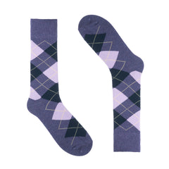 Heather Purple Argyle Dress Socks