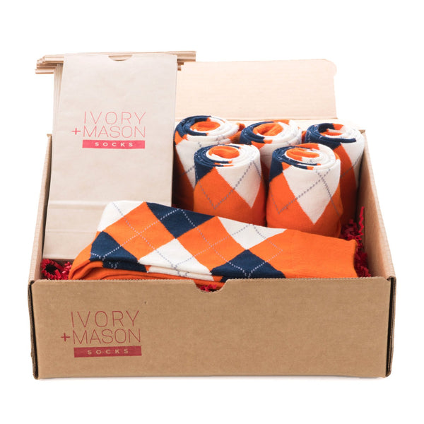 Groomsmen Socks - Men's Orange Argyle - (6 Pairs)