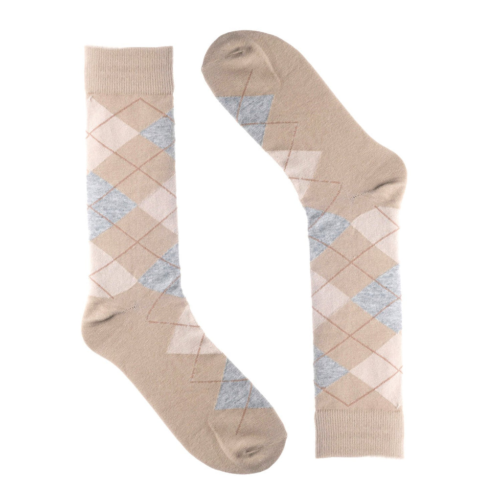 Tan Grey Argyle Dress Socks
