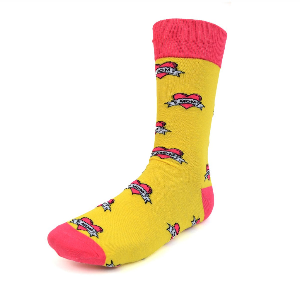 Love Mom Yellow Dress Socks