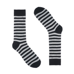 Black Grey Striped Dress Socks