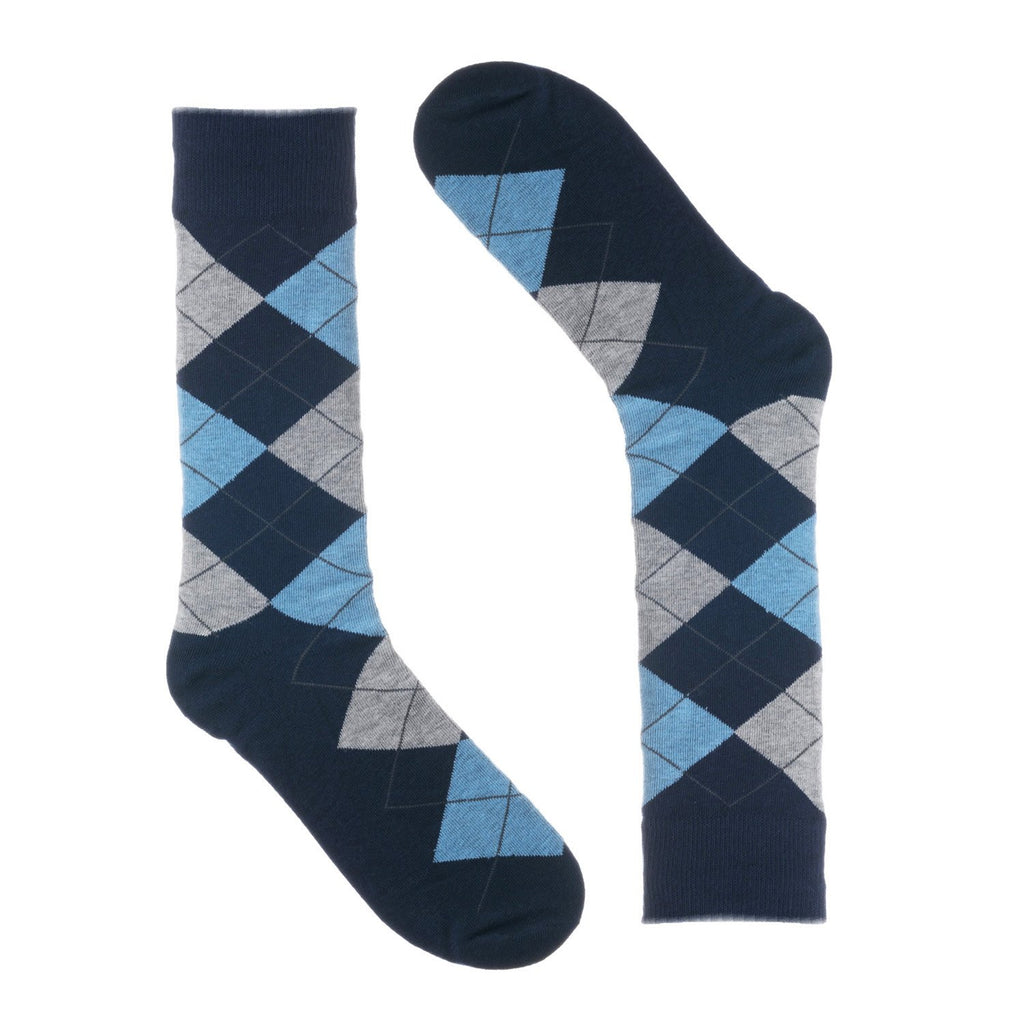 Navy Light Blue Argyle Dress Socks