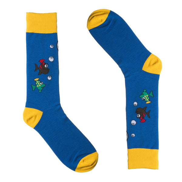 Blue Fish Dress Socks