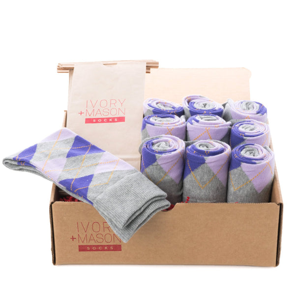 Groomsmen Socks - Grey Purple Argyle (10 Pairs)