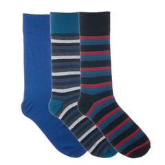 3 Pack Blue Red Navy Striped Dress Socks