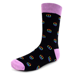 Peace Sign Black Dress Socks