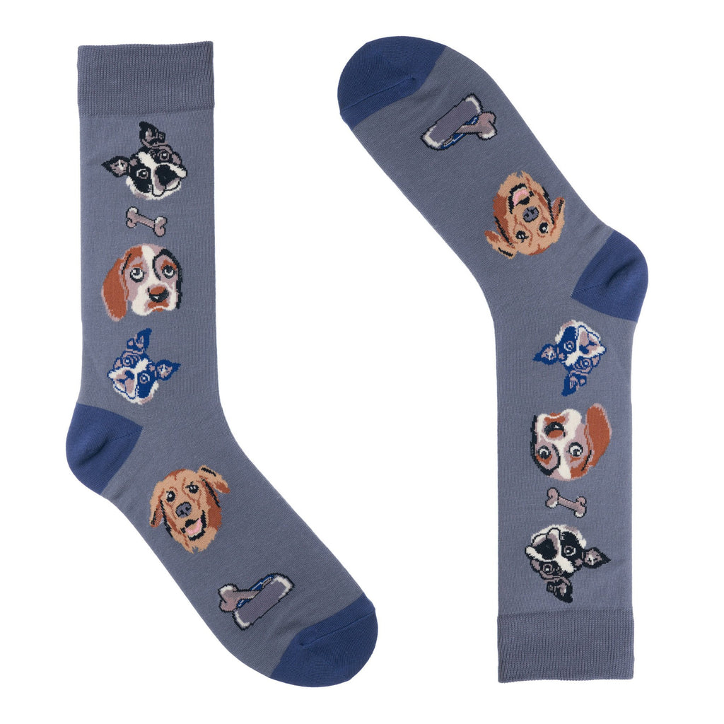 Light Blue Dog and Bone Dress Socks
