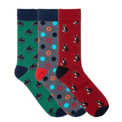 3 Pack Red Green Fox Dress Socks