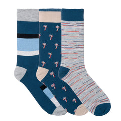 3 Pack Blue Grey Palm Dress Socks