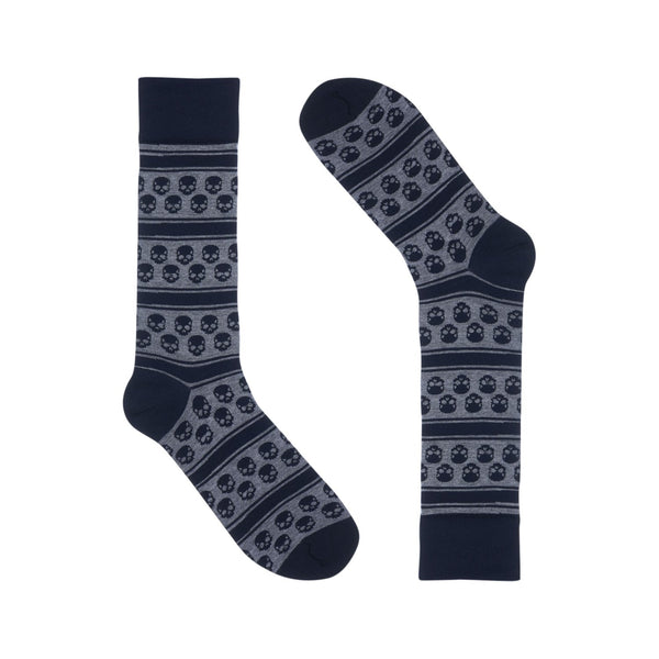Navy Skull Stripes Dress Sock