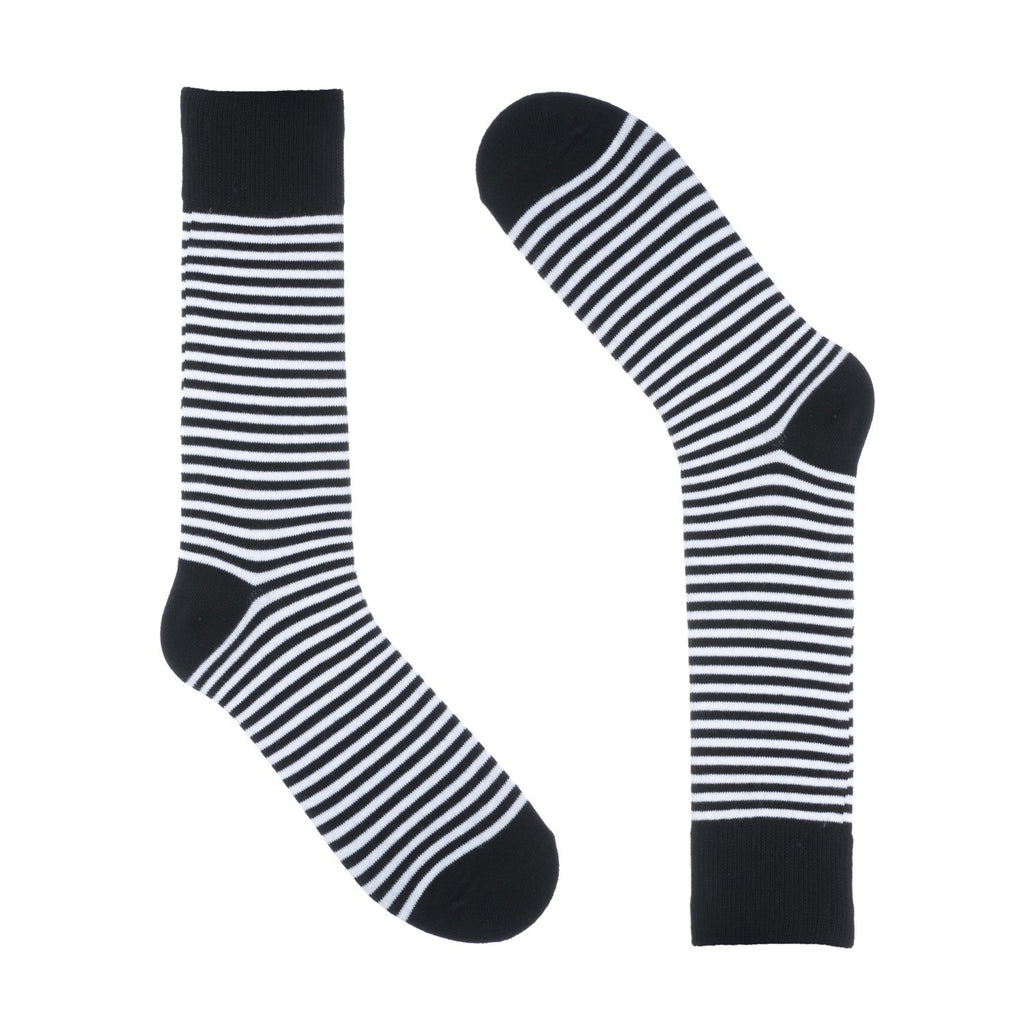 Thin Black and White Striped Dress Socks