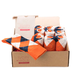 Groomsmen Socks - Orange Argyle - (10 Pairs)