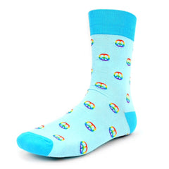 Peace Sign Blue Dress Socks