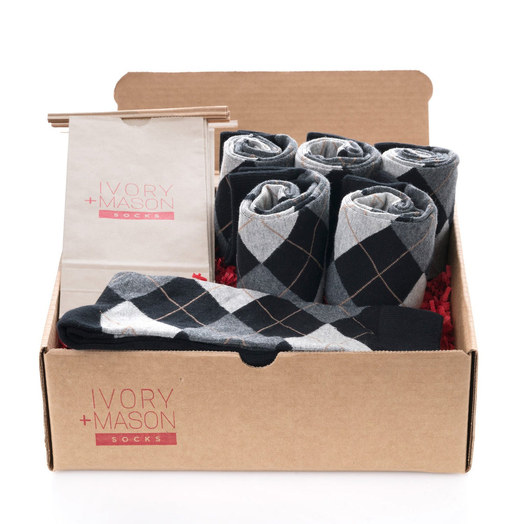 Groomsmen Socks - Black Grey Argyle - (6 Pairs)