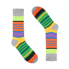Light Grey Block Striped Dress Socks