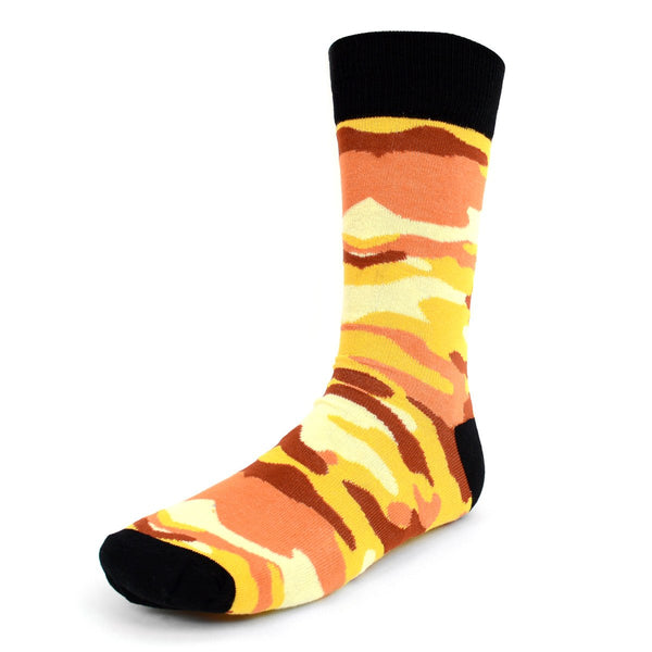 Novelty Dress Socks for Men -Camouflage Orange - Premium Cotton