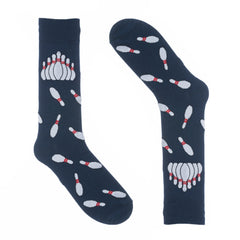 Bowling Pins Navy Dress Socks