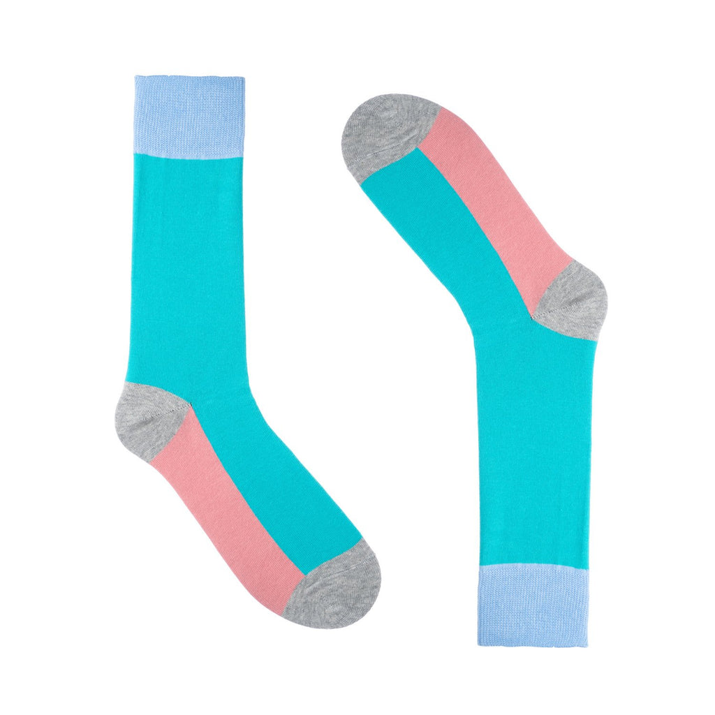 Turquoise Pink Block  Striped Dress Socks