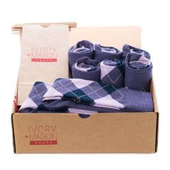 Groomsmen Socks - Purple Argyle (8 Pairs)