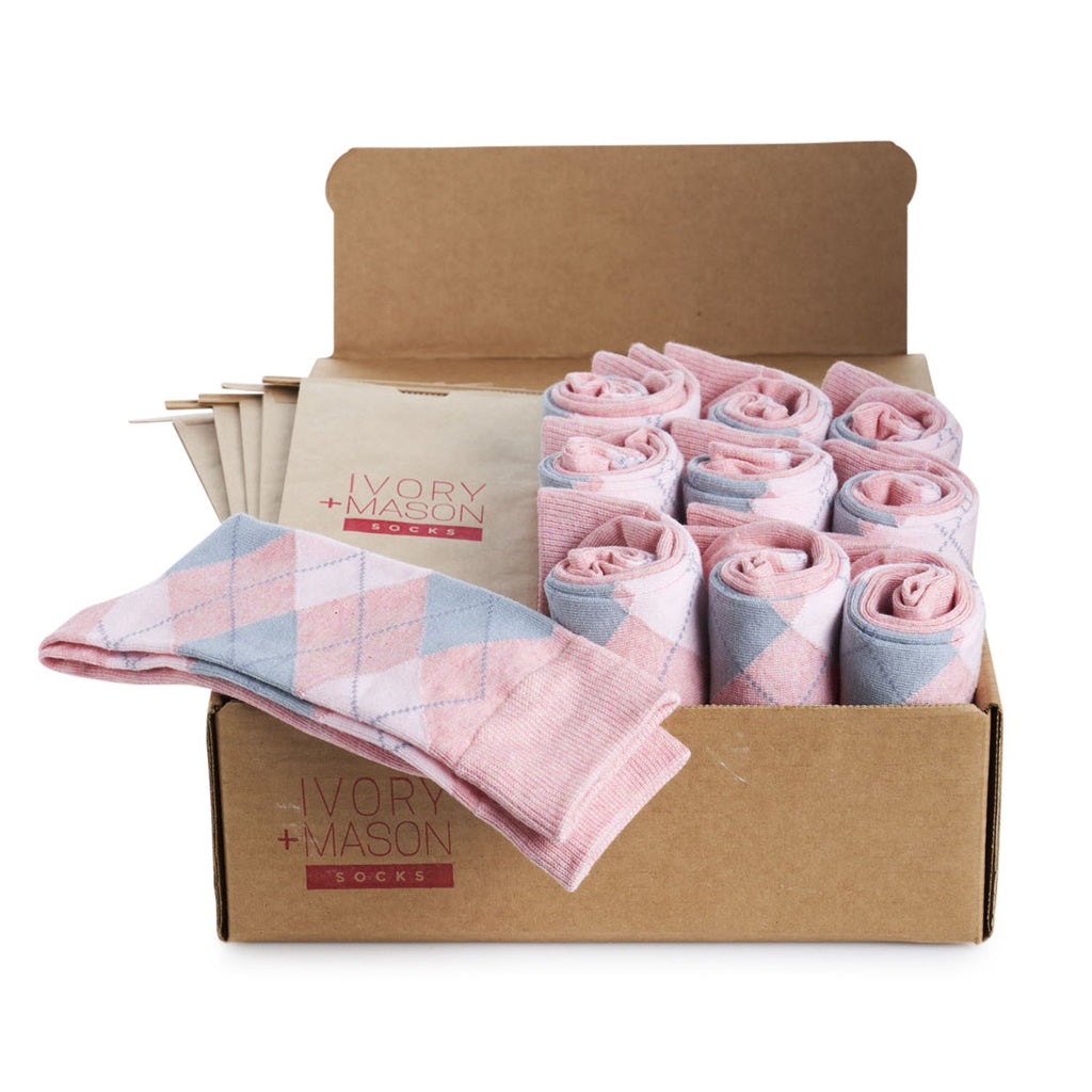 Groomsmen Socks - Light Pink Heather Argyle (10 Pairs)