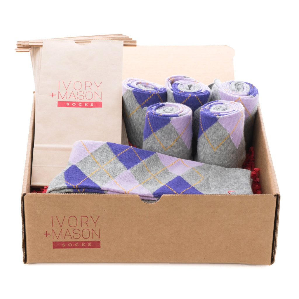 Groomsmen Socks - Grey Purple Argyle (6 Pairs)