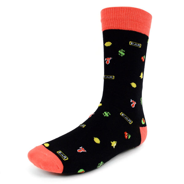 Novelty Dress Socks for Men -Jackpot Dark Grey - Premium Cotton