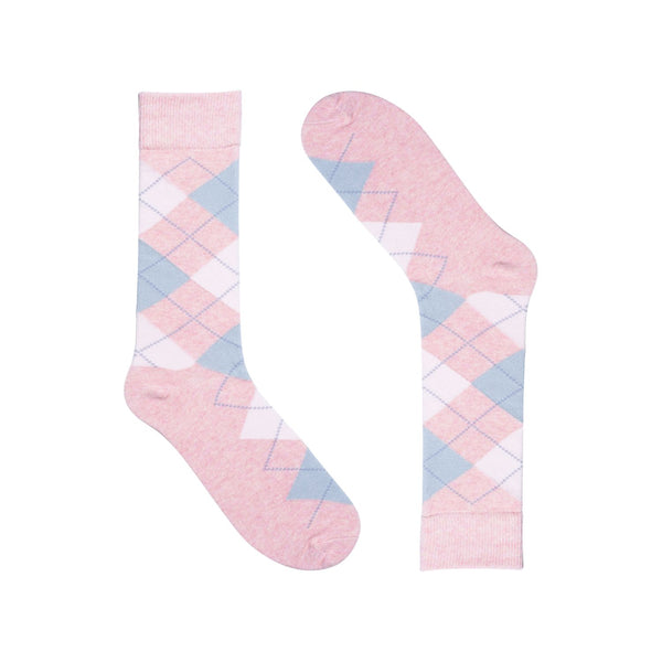 Groomsmen Socks - Light Pink Heather Argyle (6 Pairs)