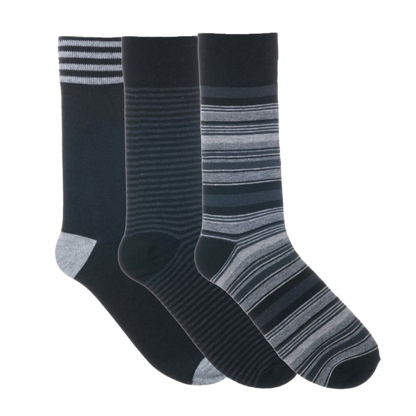 3 Pack Black Grey Stripes Dress Socks