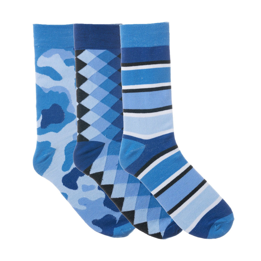 3 Pack Blue and Black Dress Socks