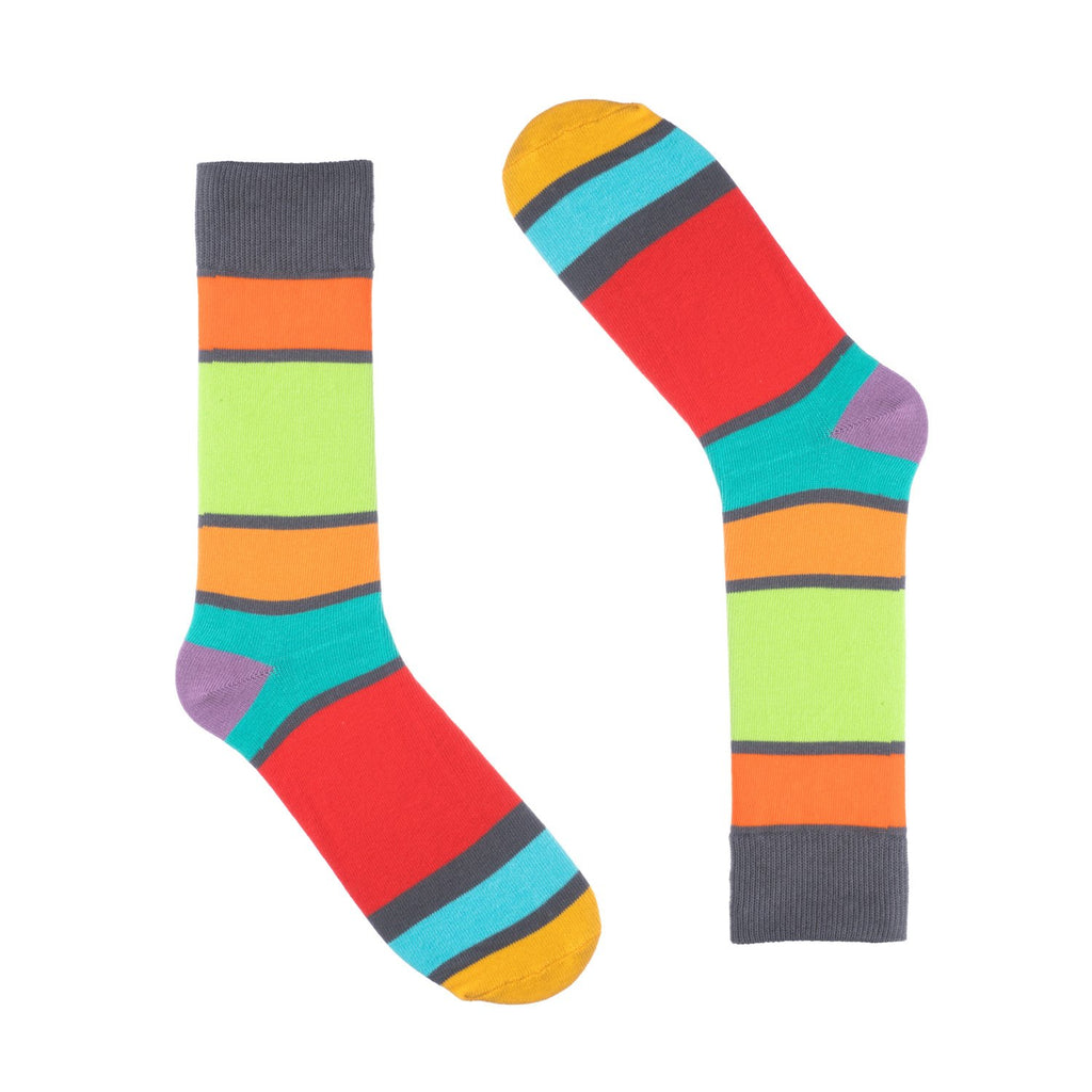 Grey Block Striped Dress Socks