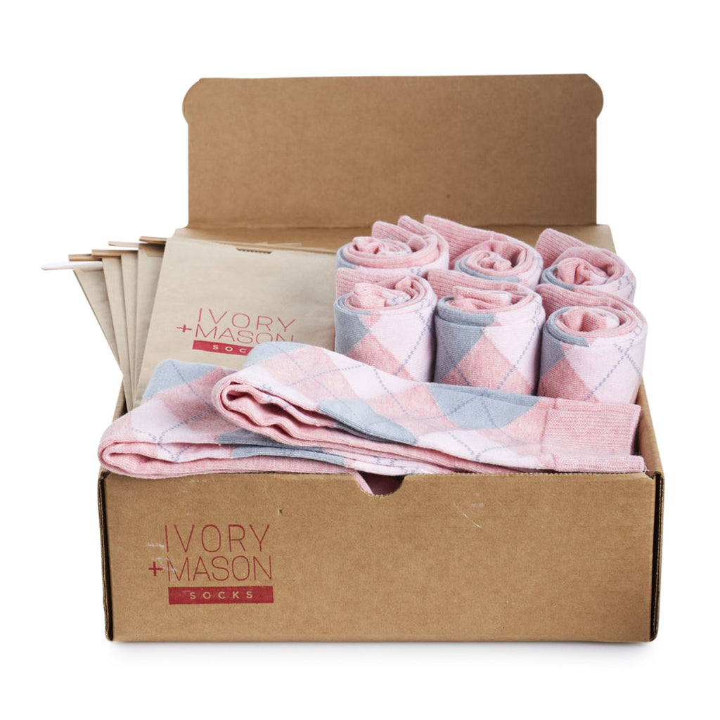 Groomsmen Socks - Light Pink Heather Argyle (8 Pairs)