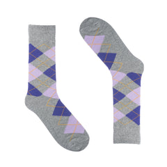Grey Purple Argyle Dress Sock