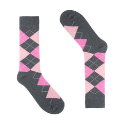 Grey Pink Argyle Dress Socks