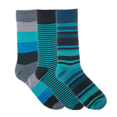 3 Pack Blue Grey and Black Striped Dress Socks
