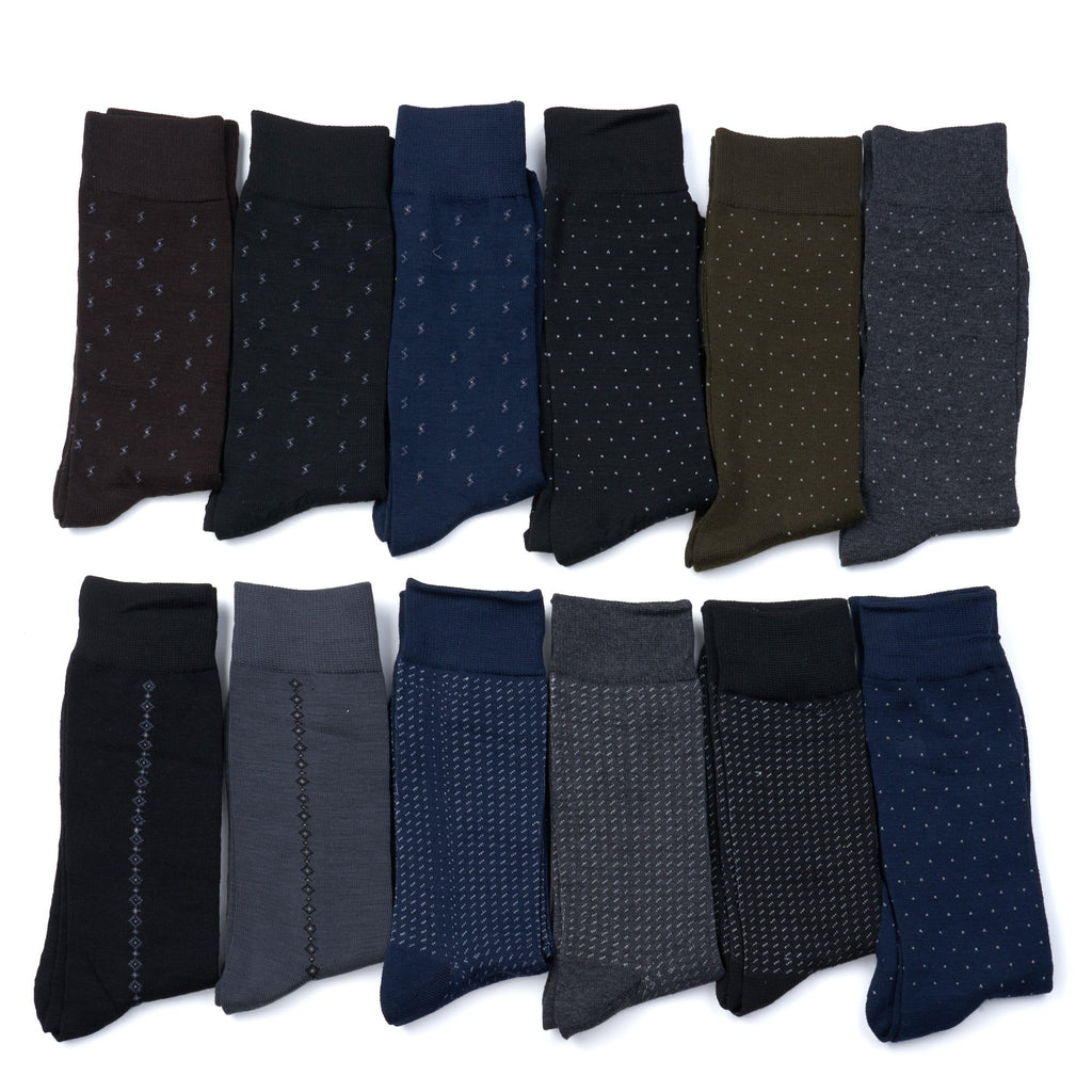 12 Pairs Mens Classic Dress Socks