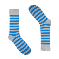 Light Grey Blue Striped Dress Socks