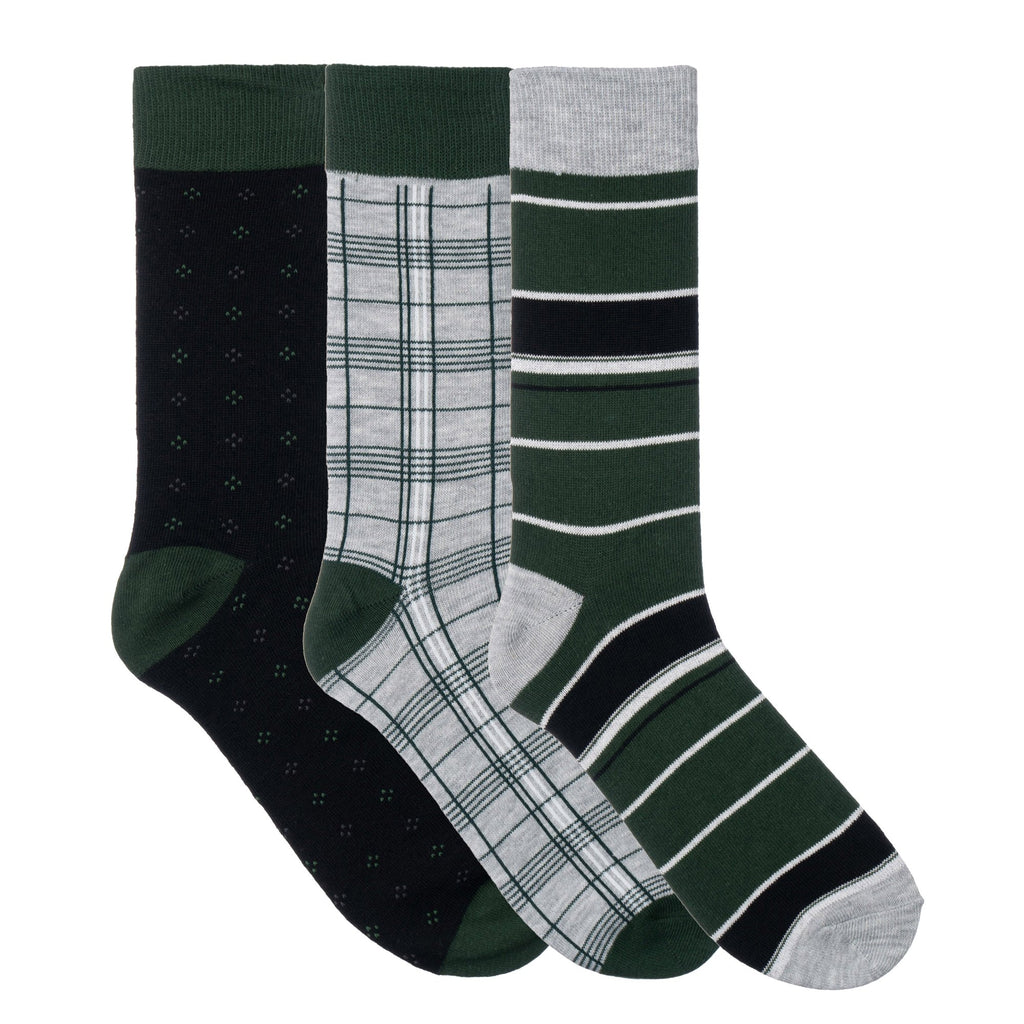 3 Pack Green Black Grey Dress Socks