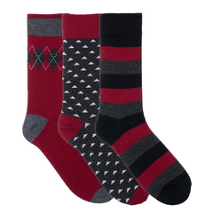 3 Pack Red Grey Black Triangle Dress Socks