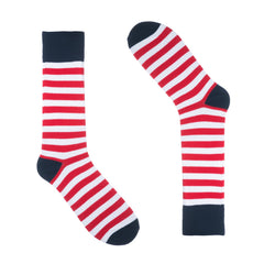 Red White and Blue Striped Dress Socks