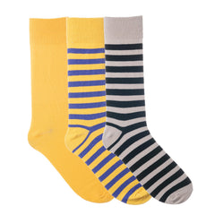 3 Pack Gold Purple White Striped Dress Socks