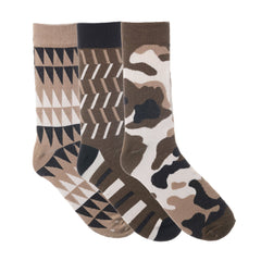 3 Pack Tan Brown and White Dress Socks