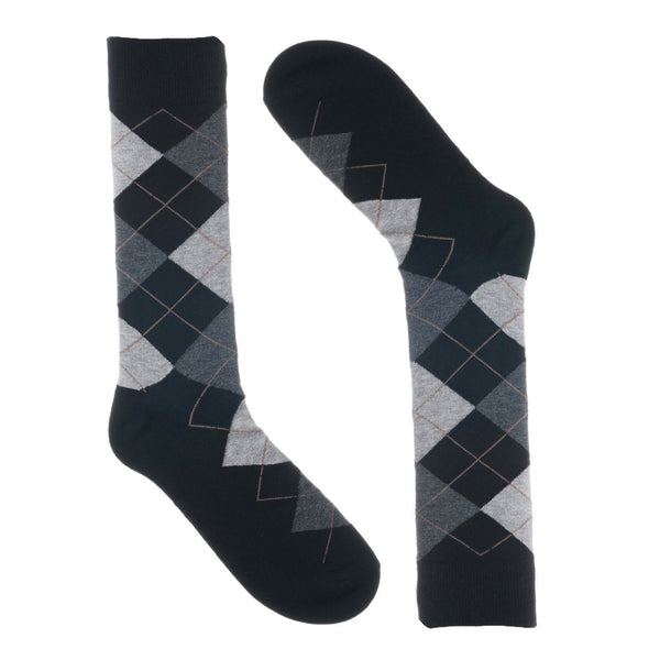 Groomsmen Socks - Black Grey Argyle - (8 Pairs)
