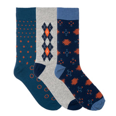 3 Pack Light Grey Orange Blue Dress Socks