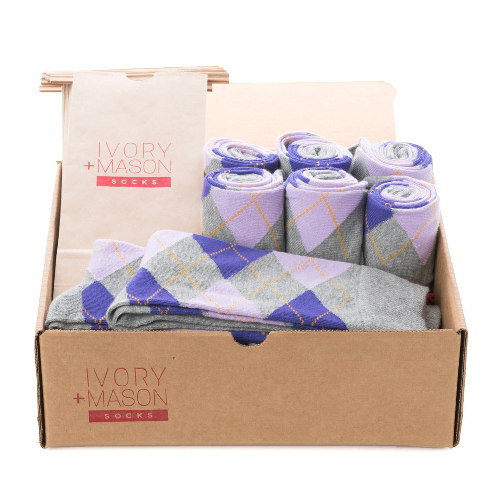 Groomsmen Socks - Grey Purple Argyle (8 Pairs)