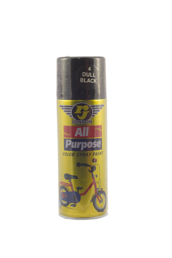 RJ London All Purpose Colour Spray Paint (4 Dull Black)