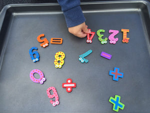 Wooden Magnetic Numbers & Symbols - Set of 15