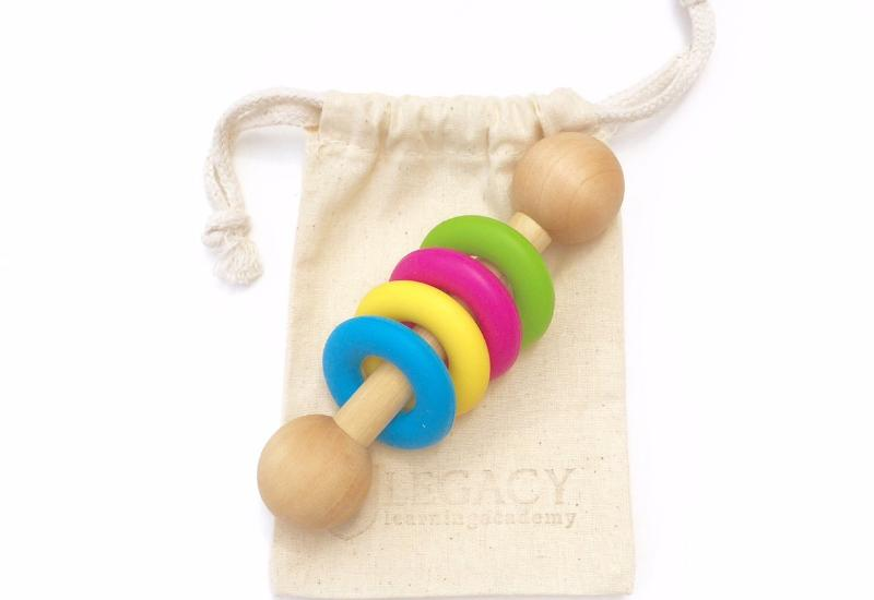 rainbow neon baby rattle best handmade chew toy for babies